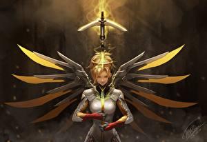 Фотография Овервотч Воины mercy Игры Девушки Фэнтези