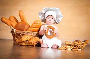 Фотография Выпечка Хлеб Младенец Мальчики Повара Корзины Дети