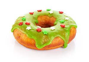 Фото Выпечка Пончики Белый фон Дизайн