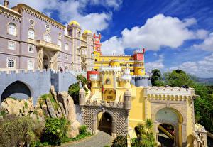 Картинки Португалия Здания Дворец Дизайн Pena palace Sintra Города