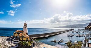 Обои Португалия Дома Море Причалы Парусные Яхта Madeira Города