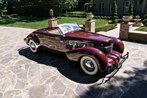 Картинка Винтаж Бордовый Кабриолет Металлик 1937 Cord 812 Supercharged Convertible Coupe Авто