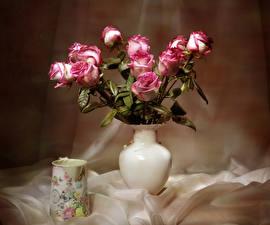 Фотографии Розы Ваза Чашка