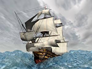 Картинка Корабли Парусные Море 3D Графика