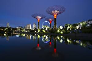 Обои Сингапур Сады Ночь Gardens by the Bay Природа картинки