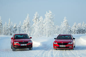 Обои Шкода Зимние Двое Снег Красная Superb, Karoq машины