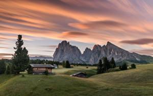 Картинка Словения Горы Здания Луга Альпы Ель Природа