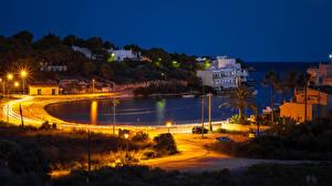 Фото Испания Здания Дороги Ночные Уличные фонари Бухта Mallorca Porto Petro