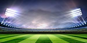 Обои Стадион Газон Лучи света Спорт картинки