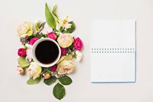 Картинки Натюрморт Кофе Розы Цветной фон Шаблон поздравительной открытки Блокнот Чашка Цветы Еда