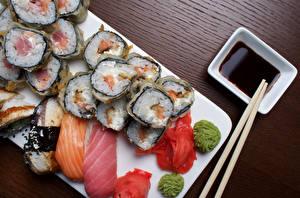 Картинка Суши Рыба Рис Соевый соус Продукты питания