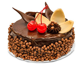 Обои Сладкая еда Торты Шоколад Вишня Белый фон Дизайна Еда