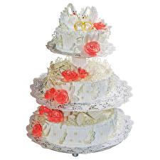 Фотографии Сладкая еда Торты Розы Белый фон Дизайна Свадьбе Пища