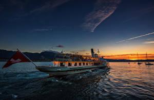 Картинка Швейцария Озеро Рассветы и закаты Корабли Речные суда Lake Thun Природа