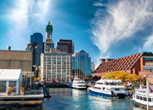 Обои Штаты Бостон Здания Пирсы Речные суда Города