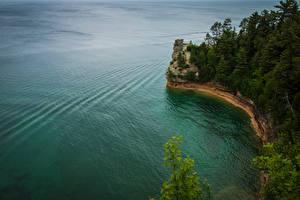 Фотография США Берег Леса Утес Pictured Rocks National Lakeshore