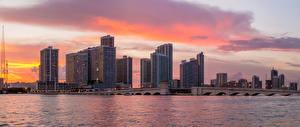 Обои Штаты Здания Речка Рассветы и закаты Мосты Майами