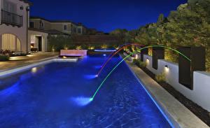 Обои США Здания Вилла Вечер Калифорния Плавательный бассейн Дизайна Irvine Города
