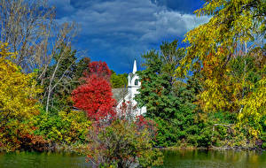 Фотография США Храмы Кусты Деревья Flint Michigan Природа