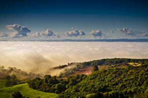 Фотографии Великобритания Леса Холмы Облака Yorkshire