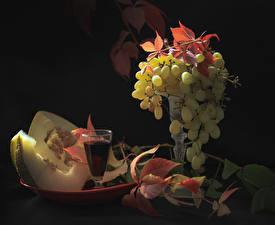 Фотография Вино Виноград Дыни Рюмка Листва Пища