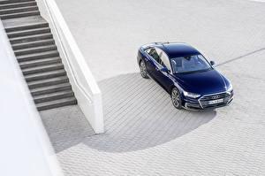 Картинки Ауди Синий 2017 A8 55 TFSI quattro Worldwide Автомобили
