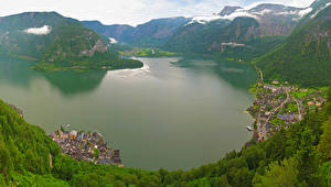 Обои Австрия Здания Горы Озеро Hallstatt Города