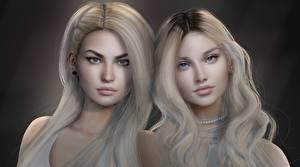 Фотография Блондинка Волосы Смотрит Красивые Двое Лицо Девушки 3D_Графика