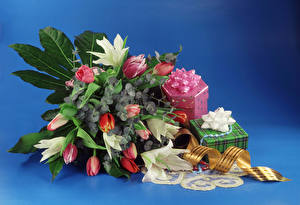 Фотографии Букеты Тюльпаны Лилии Цветной фон Подарки Лента Цветы