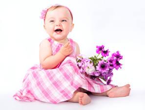 Фото Букеты Белый фон Девочки Радость Дети