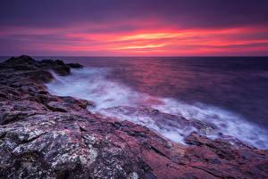 Фотография Болгария Побережье Рассветы и закаты Волны