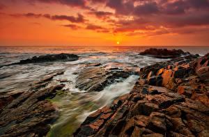 Фотография Болгария Рассветы и закаты Берег Камень Море Природа