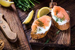 Картинка Бутерброды Рыба Хлеб Лимоны