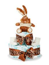Обои Торты Кролики Белым фоном Подарков Дизайн