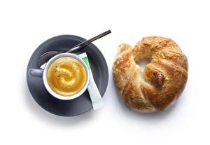 Обои Капучино Круассан Белый фон Чашка Сахар Продукты питания