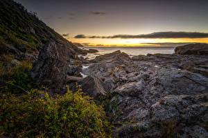 Фотография Чили Берег Рассветы и закаты Камень Costa de Valdivia