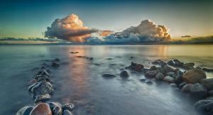Фотографии Чили Пейзаж Море Камень Небо Облака Puerto Rettig Provincia del Ranco