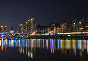 Картинки Китай Дома Мосты Побережье Ночь New Taipei City Города
