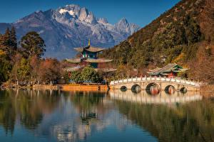 Фото Китай Горы Реки Пагоды Мост Yunnan Province Природа