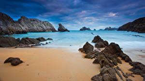 Обои Побережье Камни Залив Скала Песок Природа картинки