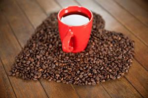 Фотографии Кофе Доски Чашка Зерна Сердце Еда