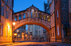 Обои Англия Здания Улица Ночь Уличные фонари Oxford Oxfordshire