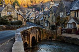 Фото Англия Здания Реки Мост Деревня Улица Castle Combe Wiltshire Города