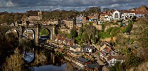 Картинка Англия Здания Реки Мосты Harrogate Borough Города