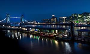Фото Англия Здания Речка Мосты Пирсы Вечер Лондон
