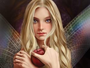 Картинки Феи Яблоки Блондинка Смотрит Руки Vincent Chu Фантастика Девушки