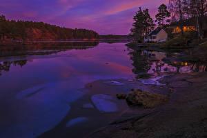Обои Финляндия Реки Вечер Побережье Дома Природа