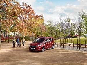 Картинки Форд Темно красный Металлик 2018 Grand Tourneo Connect Worldwide Автомобили