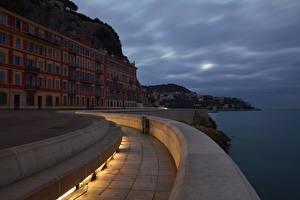 Фотография Франция Дома Берег Вечер Nice Города