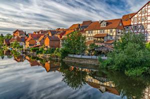 Обои Германия Здания Реки Пристань Кусты Bad Sooden-Allendorf Города